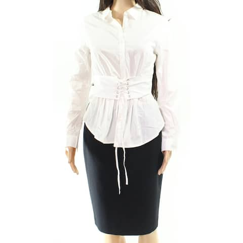 XOXO Women's Optic White Size Large L Lace-Up Corset Button Down Shirt