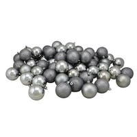 "24ct Pewter Gray Shatterproof 4-Finish Christmas Ball Ornaments 2.5"" (60mm)"