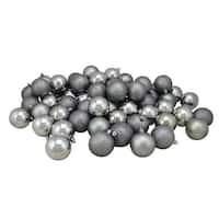 "60ct Pewter Gray Shatterproof 4-Finish Christmas Ball Ornaments 2.5"" (60mm)"