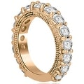 4.65 cttw. 14K Rose Gold Antique Round Cut Diamond Engagement Set - Thumbnail 5