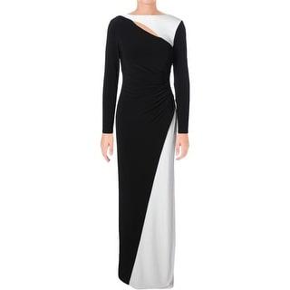 Lauren Ralph Lauren Womens Ledatta Formal Dress Colorblock Cut-Out