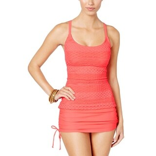 Island Escape Womens Sky High-Neck Crochet Tankini Top 16 Coral Swimsuit