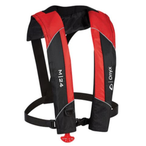 "17"" Red and Black M-24 Manual Inflatable Life Vest"