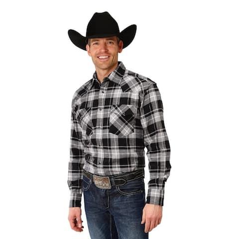 Roper Western Shirt Mens L/S Plaid Snap Black
