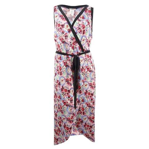 Love Squared Women's Plus Size Printed Faux-Wrap Maxi Dress (3X, Multi) - Multi - 3X