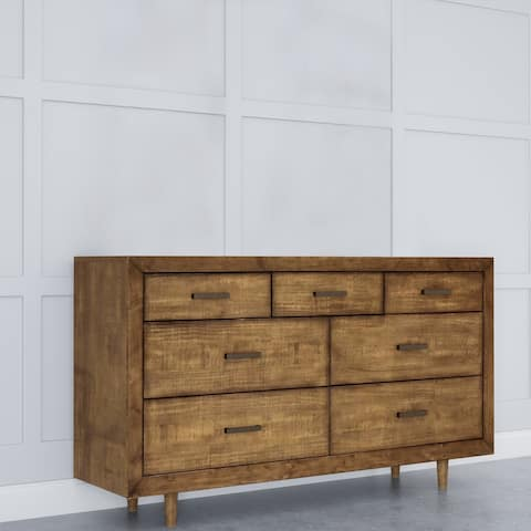Abbyson Retro Mid Century 7 Drawer Wood Dresser