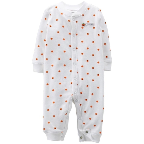 Carters Unisex 0-9 Months Halloween Pumpkin Sleep N Play - White
