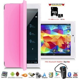 Indigi® Factory Unlocked 3G 7.0inch HD DualSim SmartPhone & TabletPC w/ Built-in SmartCover + Bundle Included(Pink)