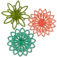 "Set of 3 Vibrantly Colored Distressed Finish Flower Themed Wall Art 20.08"" - Green"
