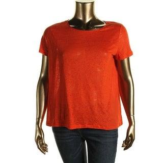 Lauren Ralph Lauren Womens Linen Short Sleeves Casual Top - S
