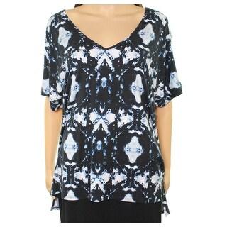 Tart NEW Blue Womens Size 1X Plus Watercolor Print Stretch-Knit Top