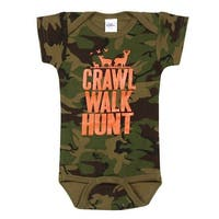 What on Earth Crawl Walk Hunt Camo Infant Snapsuit - Short Sleeve One Piece