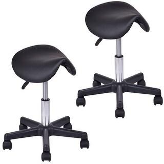 Gymax Set of 2 Adjustable Saddle Salon Stool Hydraulic Massage Chair Tattoo Facial Spa