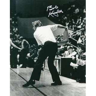 Bobby Knight Signed Indiana Hoosiers B&W Throwing Chair 16x20 Photo