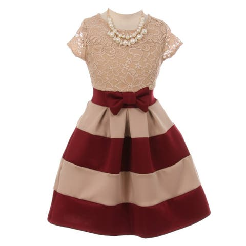Girls Burgundy Lace Necklace Color Block Special Occasion Dress