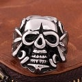 Vienna Jewelry Single Skull Emblem Stainless Steel Ring - Thumbnail 1