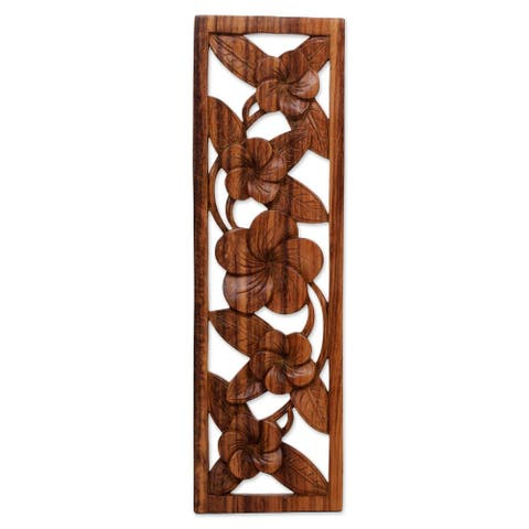 "Handmade Jepun Wall Wood Relief Panel (Indonesia) - 19"" H x 6"" W x 0.9"" D"