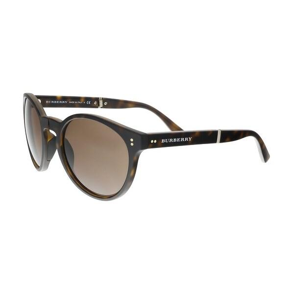 ab43cb443a Burberry BE4221 35365W Dark Havana Round Foldable Sunglasses - 55-21-140