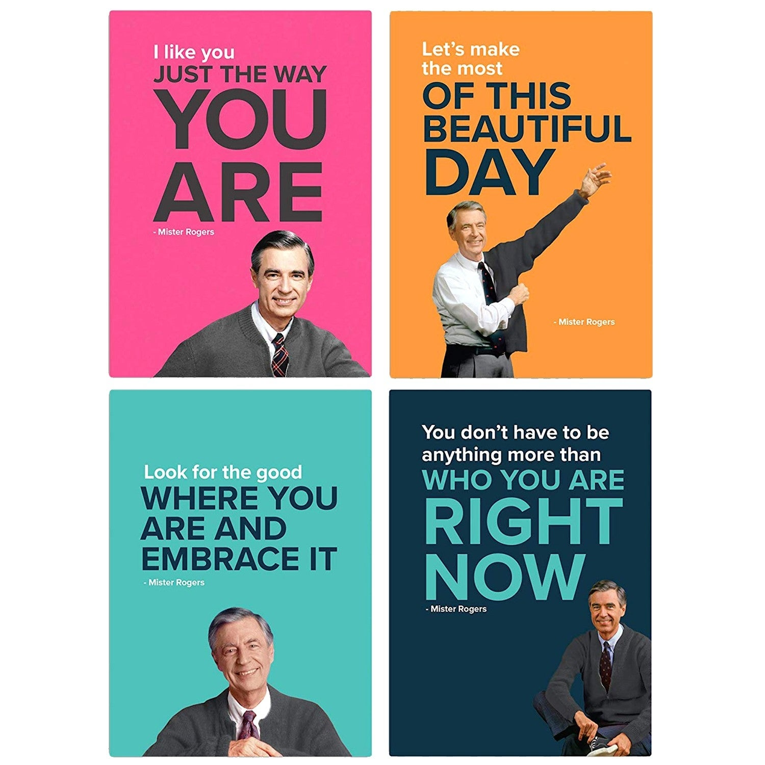 Shop Papersalt Set Of 4 Mister Rogers Magnets Fred Rogers Picture And Quote Decor Overstock 28181948