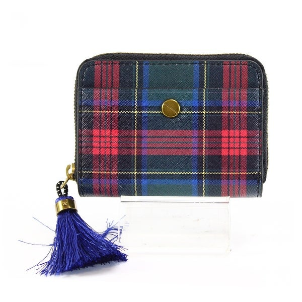 J.Crew Blue Tassel Charm Card Holder Zip Around Coin Mini Wallet