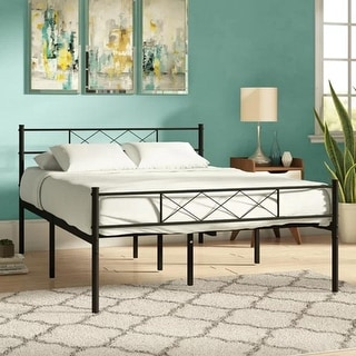 VECELO Metal Platform Beds Twin/Full/Queen Size with Headboard and Footboard((Fixed Bed Frame,Twin/Full/Queen Size 3 Opotion) )