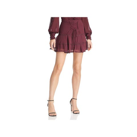 Bardot Womens Anna Flounce Skirt Lace-Up Tiered - Wine
