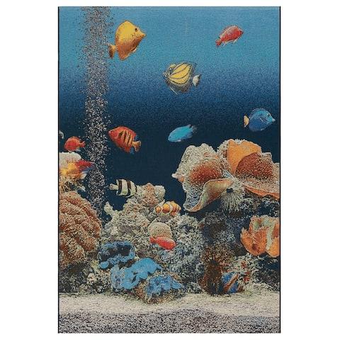 """Liora Manne Marina Aquarium Indoor/Outdoor Rug Ocean 1'11"""" x 7'6"""""""