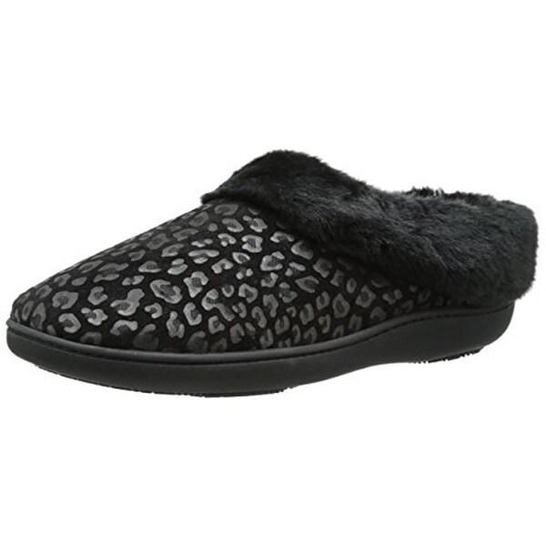 Isotoner Womens Clog Slippers Microsuede Cheetah Print