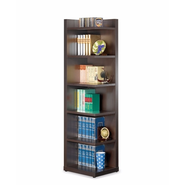 Radiant Brown Wooden Corner Bookcase