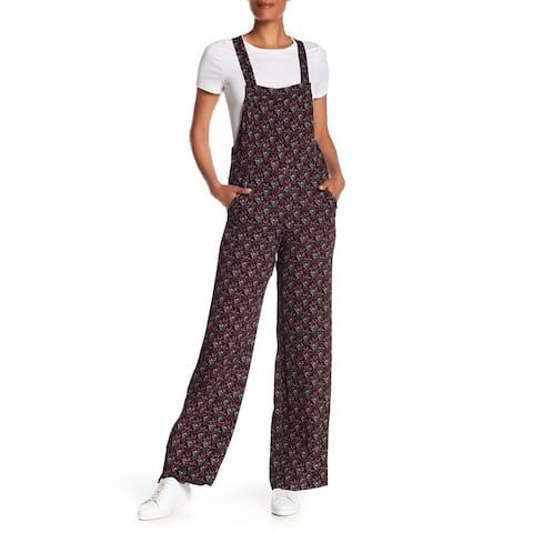 A.L.C. Black Women Size 2 Square Neck Kitt Patterned Jumpsuit Silk