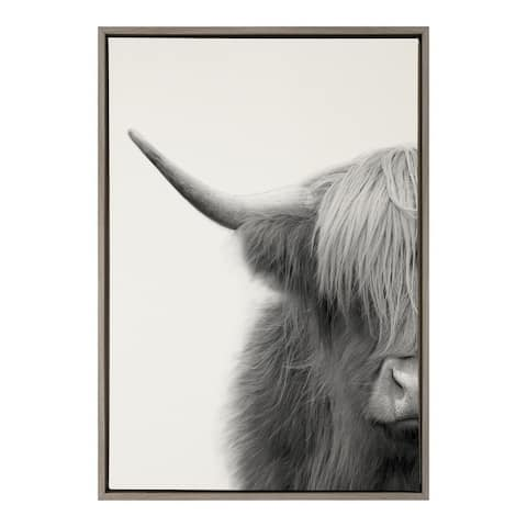 Kate and Laurel Sylvie Hey Dude Highland Cow Crop Framed Canvas by The Creative Bunch Studio