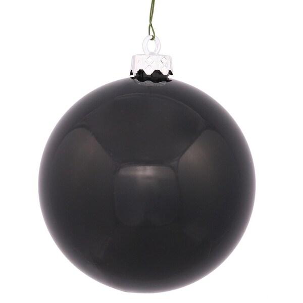 """Shiny Jet Black UV Resistant Commercial Shatterproof Christmas Ball Ornament 4"""" (100mm)"""
