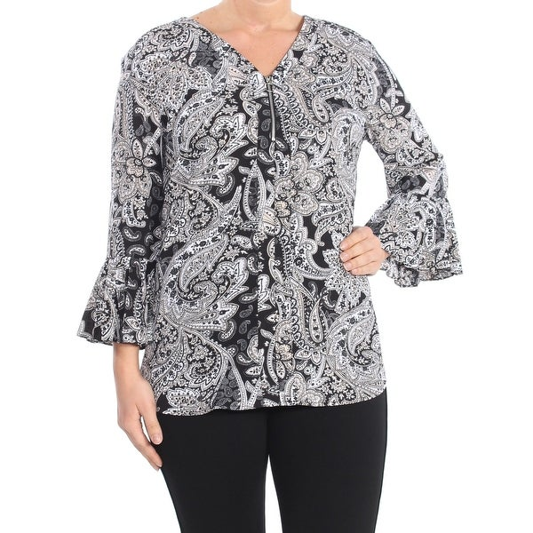 NY COLLECTION Womens Black Ikat Quarter Zip Bell Sleeve V Neck Blouse Wear To Work Top Size: L