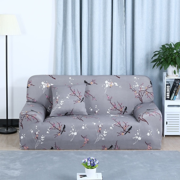 Unique Bargains Plum Blossom Pattern L Shaped Stretch Sofa Slipcovers (1 2  3 Seater