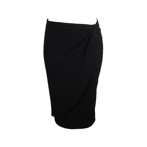 Bar Iii Black Faux-Wrap Pencil Skirt XXS