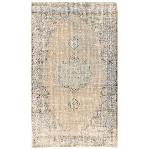 ECARPETGALLERY Hand-knotted Color Transition Light Khaki Wool Rug - 4'11 x 8'5