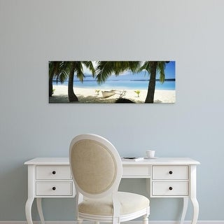 Easy Art Prints Panoramic Images's 'Outrigger boat on the beach, Aitutaki, Cook Islands' Premium Canvas Art