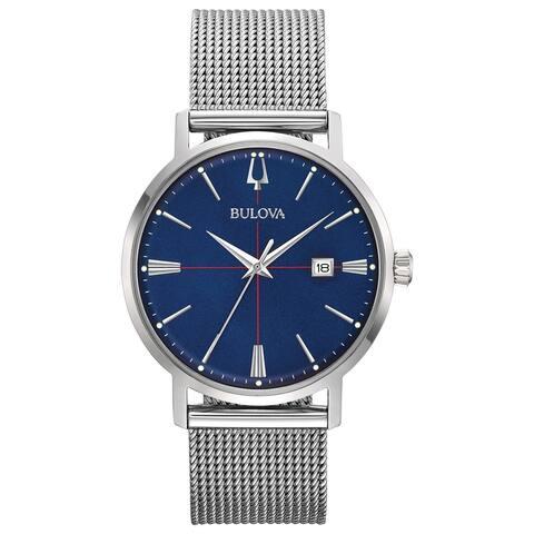 Bulova Men's 96B289 AeroJet Stainless Blue Dial Mesh Bracelet Watch - Silvertone