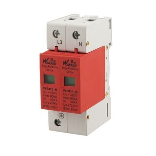 Unique Bargains Unique Bargains 80KA Max Current AC 420V 1P+N Din Rail Mount Surge Protection Device Arrester
