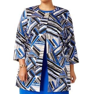 Kasper Blue Womens Size 22W Plus Geometric-Print Collarless Jacket
