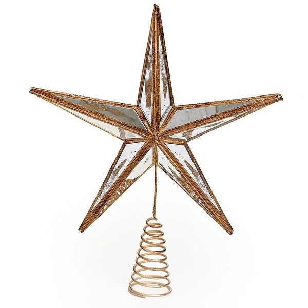 Shop 14 Gilded White Christmas Gold Mirrored Star Tree Topper