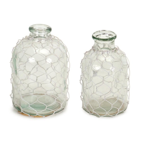 Set Of 2 Clear Glass With Wire Netting Decorative Bottle Vases 7