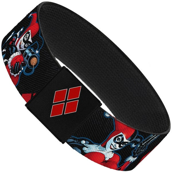 """Harley Quinn Shooting Poses Diamonds Black Red White Elastic Bracelet 1.0"""" Wide"""