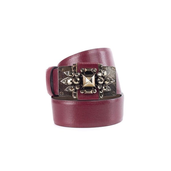 Cavalli Womens Red Leather Crystal Embellished Belt