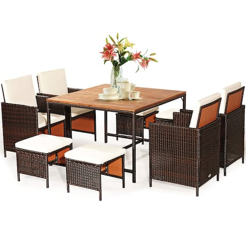 Costway 9PCS Patio Rattan Dining Set Cushioned Chairs Ottoman Wood