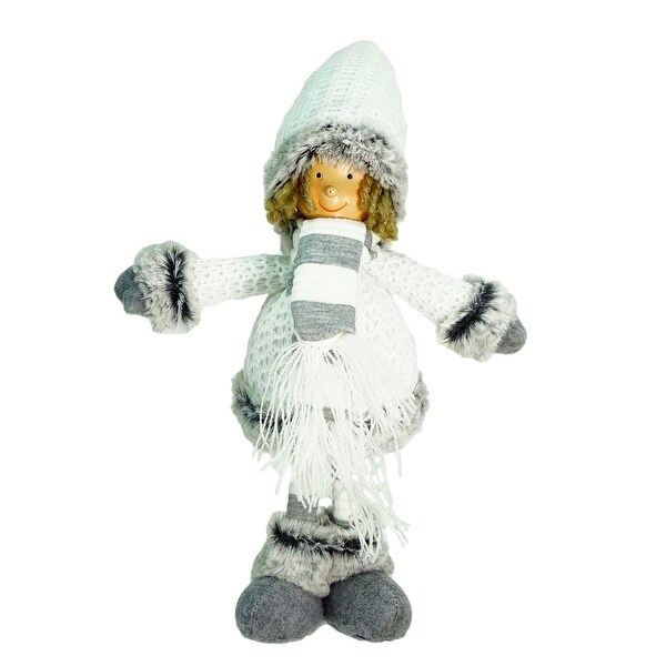 "13"" Decorative Gray and White Wintry Boy Christmas Table Top Figure"