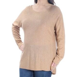 INC $80 Womens New 1374 Beige Long Sleeve Jewel Neck Hi-Lo Sweater 1X Plus B+B