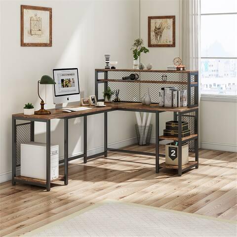 "67"" L Shaped Computer Desk with Hutch & Storage Shelves"