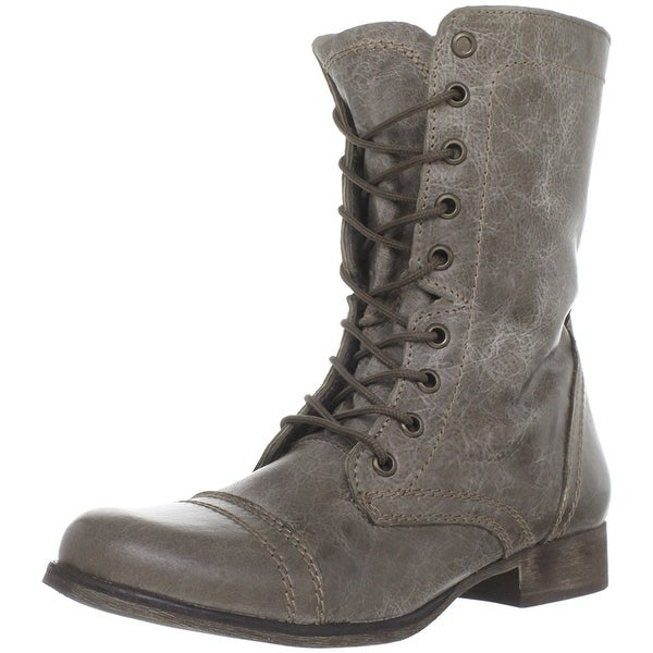 Steve Madden Womens TROOPA Leather Round Toe Mid-Calf Combat Boots