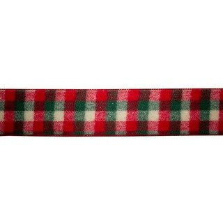 "Set of 4 Red and Dark Green Decorative Plaid Designed Ribbon 2.5"" x 10 Yard"